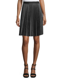 Max Studio Pleated Faux Leather A Line Skirt Black