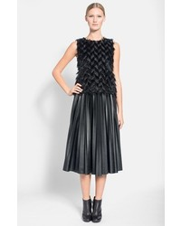 Lanvin Pleated Faux Leather Midi Skirt | Where to buy & how to wear