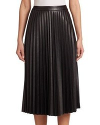 Nicholas Pleated Faux Leather Midi Skirt