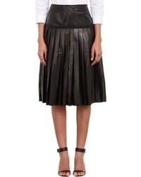 Barneys New York Pleated Leather Skirt Black