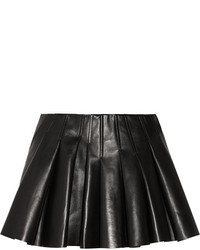Black Pleated Leather Mini Skirt