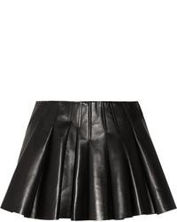 Black Pleated Leather Mini Skirt