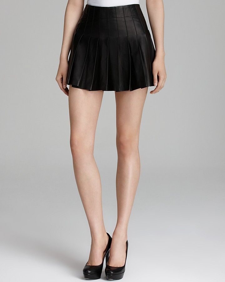 mini skirt pleated leather where to buy