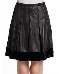 Catherine Malandrino Annora Faux Leather Pleated Skirt