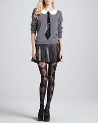 Alice + Olivia Box Pleated Leather Skirt
