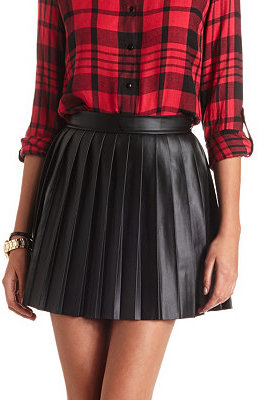 Charlotte Russe Pleated Faux Leather Skater Skirt | Where to buy ...