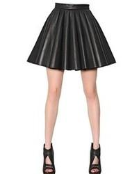 David Koma Pleated Nappa Leather Wool Crepe Skirt