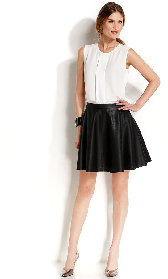 806932d20d Vince Camuto Perforated Faux Leather Skater Skirt, $109 | Macy's ...