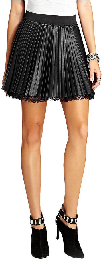 GUESS Pleated Faux Leather Mini Skirt | Where to buy & how to wear