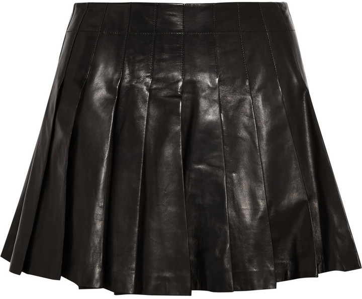 c7337bbafc42 Alice + Olivia Pleated Leather Mini Skirt, $495 | theOutnet ...