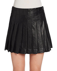 Saks fifth avenue red pleated faux leather mini skirt medium 136462