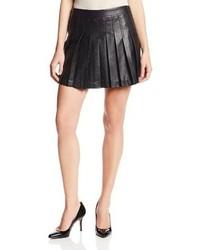 BCBGMAXAZRIA Shane Pleated Faux Leather Flared Skirt
