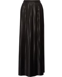 By Malene Birger Doha Pleated Charmeuse Maxi Skirt Black