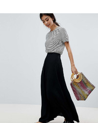 Asos Petite Design Petite Crinkle Maxi Skirt With Box Pleat