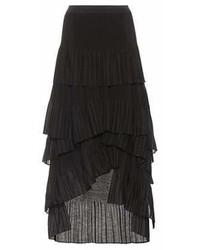 Brunello Cucinelli Pleated Cotton Blend Maxi Skirt