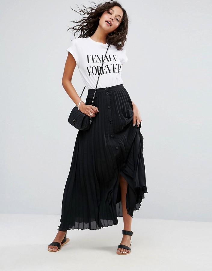 97f76cc191 ... Black Pleated Maxi Skirts Asos Pleated Maxi Skirt With Button Detail ...