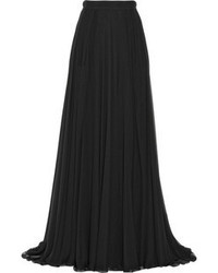 Elie Saab Pleated Silk Chiffon Maxi Skirt