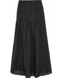 See by Chloe See By Chlo Pleated Guipure Lace Paneled Cotton Maxi Skirt