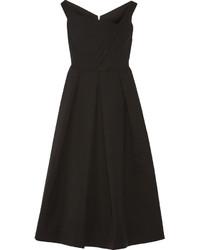 Finella pleated stretch crepe midi dress black medium 629400
