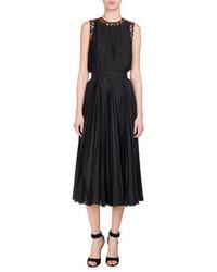 Givenchy Pansy Print Pleated Charmeuse Midi Dress Black