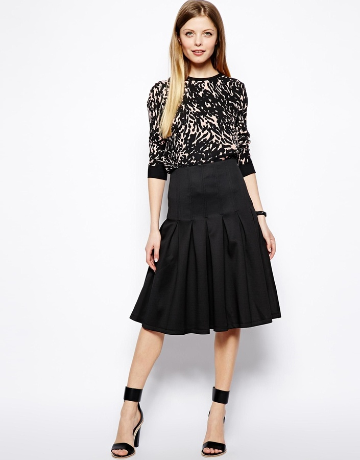 asos midi scuba skirt with pleats where to buy how to wear