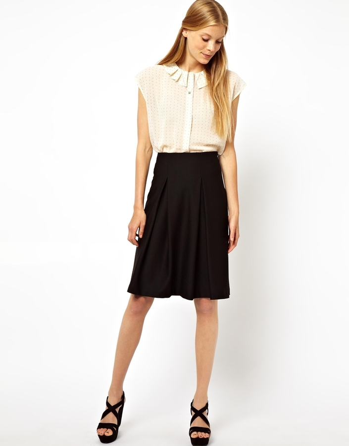 asos midi skirt in ponte with pleats where to buy how