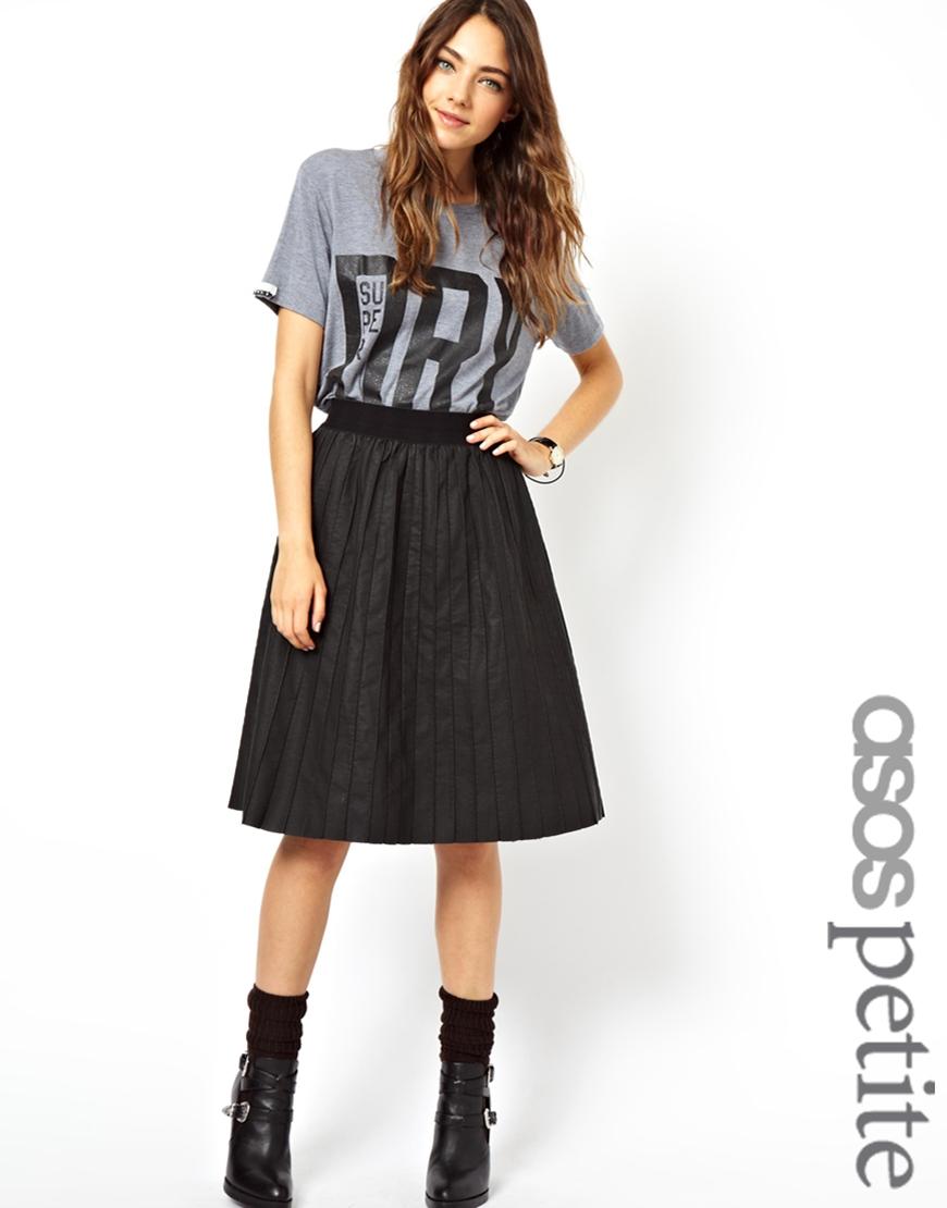 asos leather look pintuck pleated midi skirt