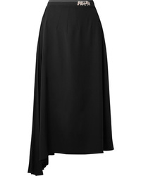 Prada Asymmetric Pleated Crepe Midi Skirt