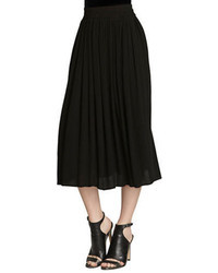 Women's Black Pleated Midi Skirt from Lord & Taylor | Lookastic ...