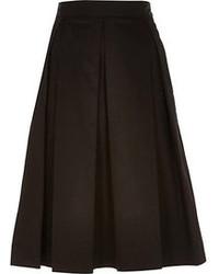 River Island Black Sateen Box Pleat Midi Skirt