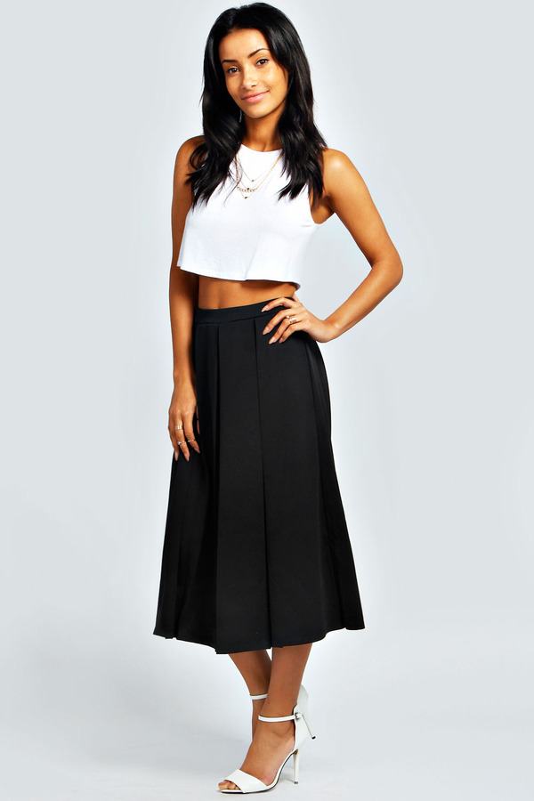 boohoo bea box pleat scuba midi skirt where to buy how
