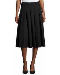 Co Box Pleated Midi Skirt Black