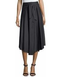 Milly Button Front Poplin Midi Skirt
