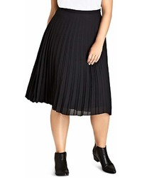 City Chic Accordion Pleat Midi Skirt