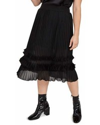 Elvi Pleated Chiffon Midi Skirt