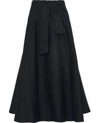 Iris Ink Harry Belted Flared Cotton Poplin Midi Skirt