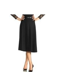 M&Co Belted Jersey Workwear Midi Skirt Black 12