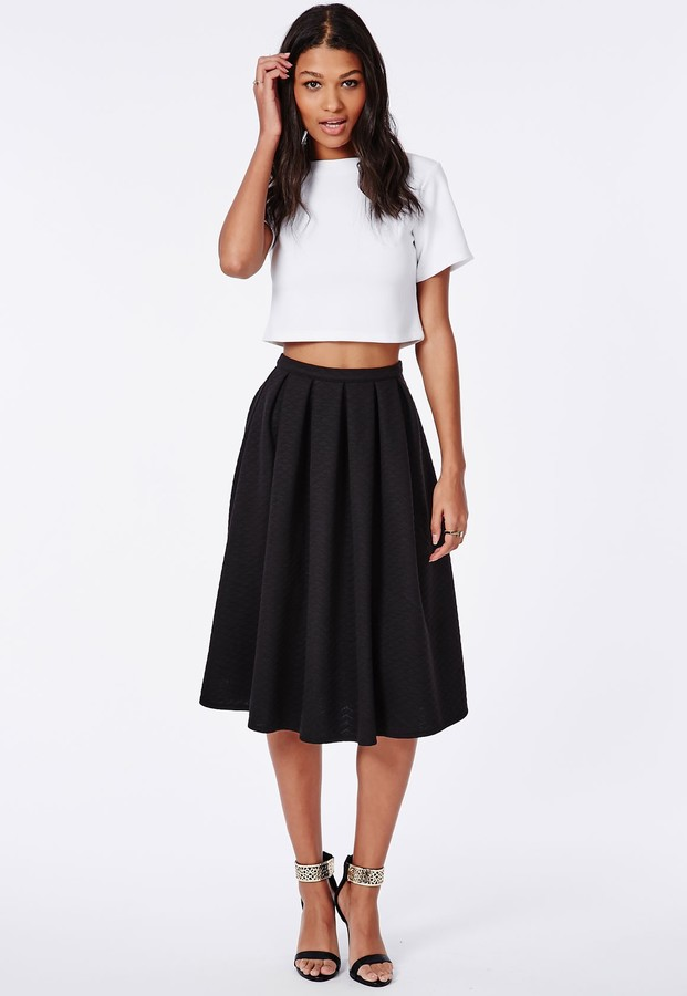 Missguided Quilted Full Midi Skirt Black | Where to buy & how to wear