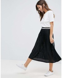 Asos Perforated Pleated Midi Skirt With Sports Tipped Waistband