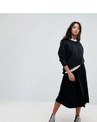Asos Petite Design Petite Midi Skirt With Box Pleats
