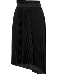 Balenciaga Pleated Crepe Midi Skirt