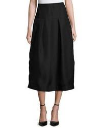 Co Pleated High Waist Midi Skirt Black