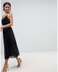 Asos Pleated Midi Skirt With Paperbag Waist In Chiffon