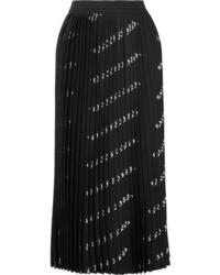 Balenciaga Pleated Printed Stretch Knit Midi Skirt