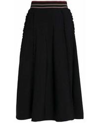 Roksanda Pleated Ruffle Trimmed Stretch Knit Midi Skirt