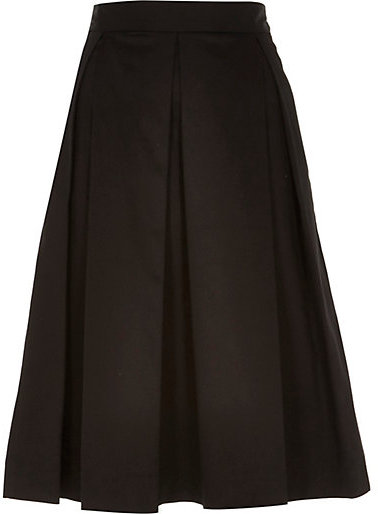 River Island Black Sateen Box Pleat Midi Skirt | Where to buy ...