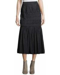 Brock Collection Sevilla Pleated Taffeta A Line Midi Skirt
