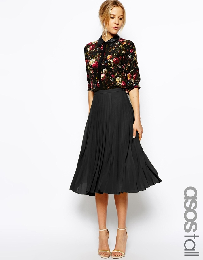 6578b71004c19c Asos Tall Pleated Midi Skirt, $63 | Asos | Lookastic.com