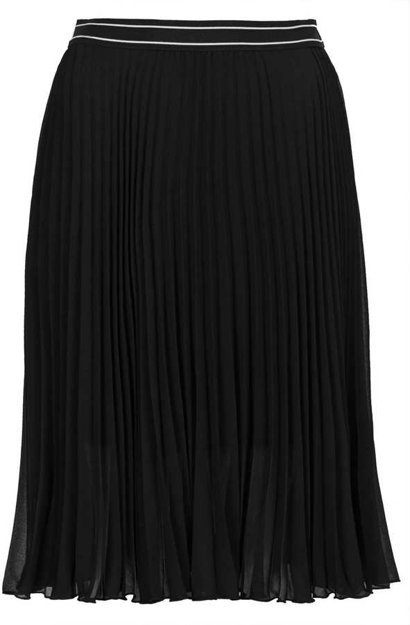 topshop black sunray pleat midi skirt with an elasticated