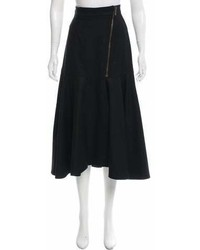 Saint Laurent Yves Wool Midi Skirt